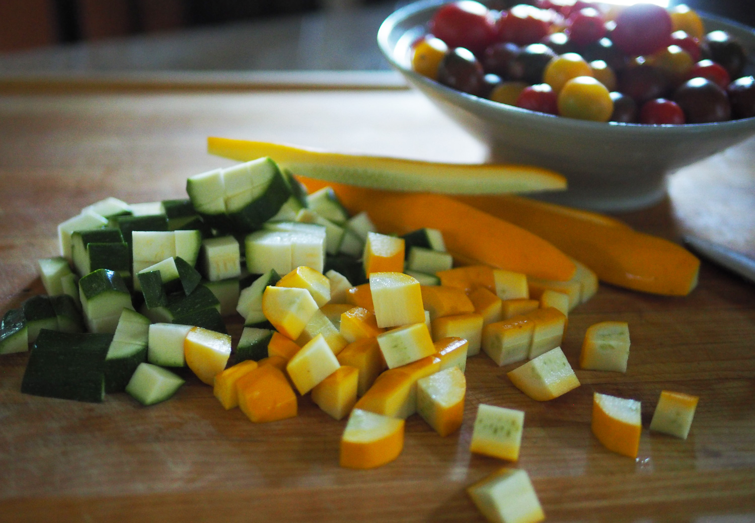 Zucchini and Yellow Squash cubed.
