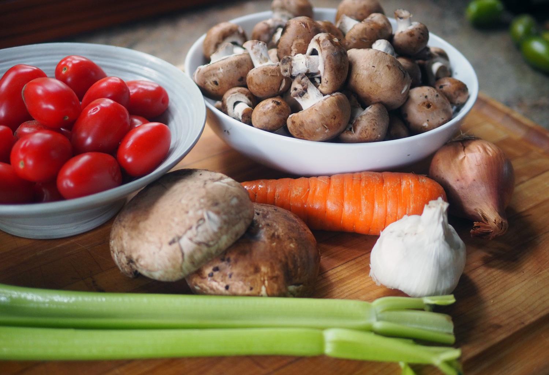 The basics: mushrooms, carrot, celery, onion, garlic and tomatoes.