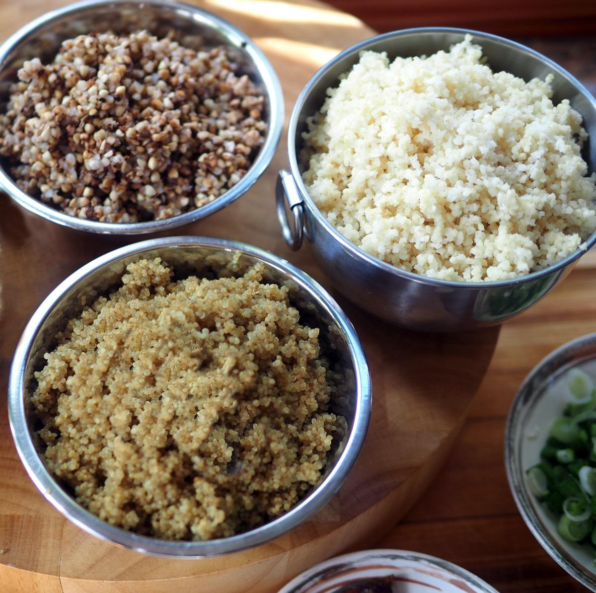Cooked kasha, milliet, quinoa.