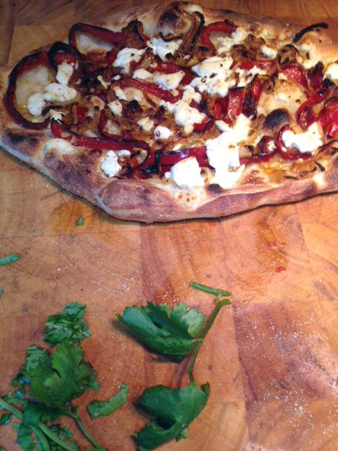 Roasted red pepper & goat cheese pizza