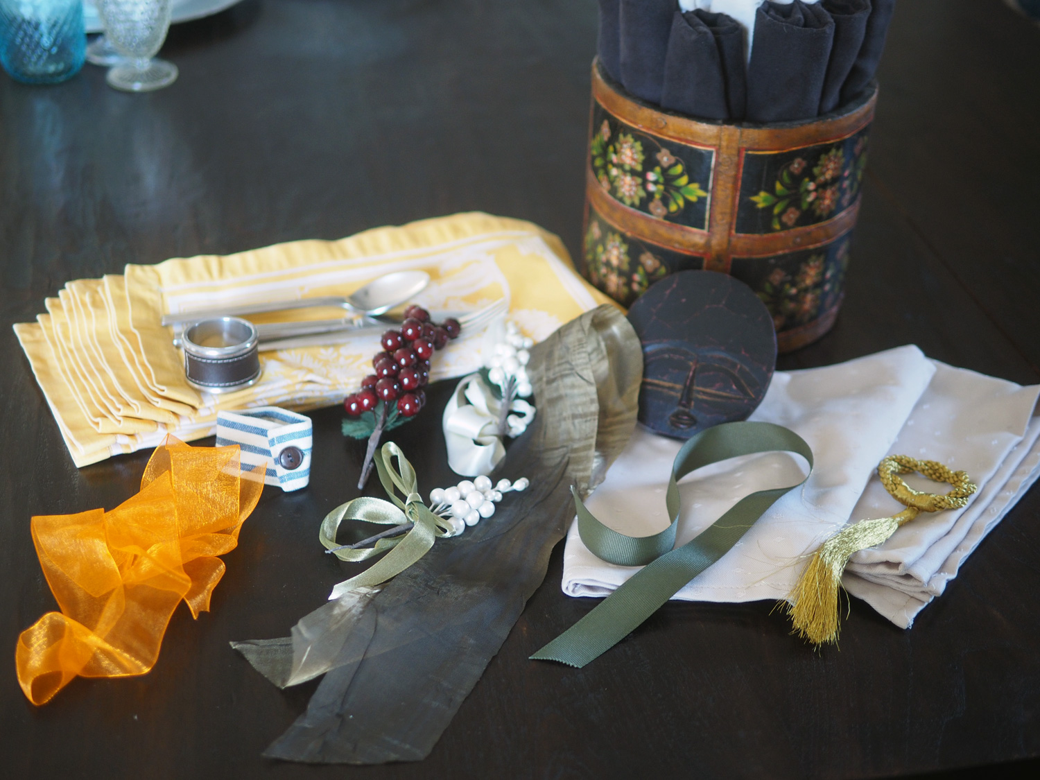 I pulled out a few items to play with for this episode of how to fold a napkin... Fast but pretty.