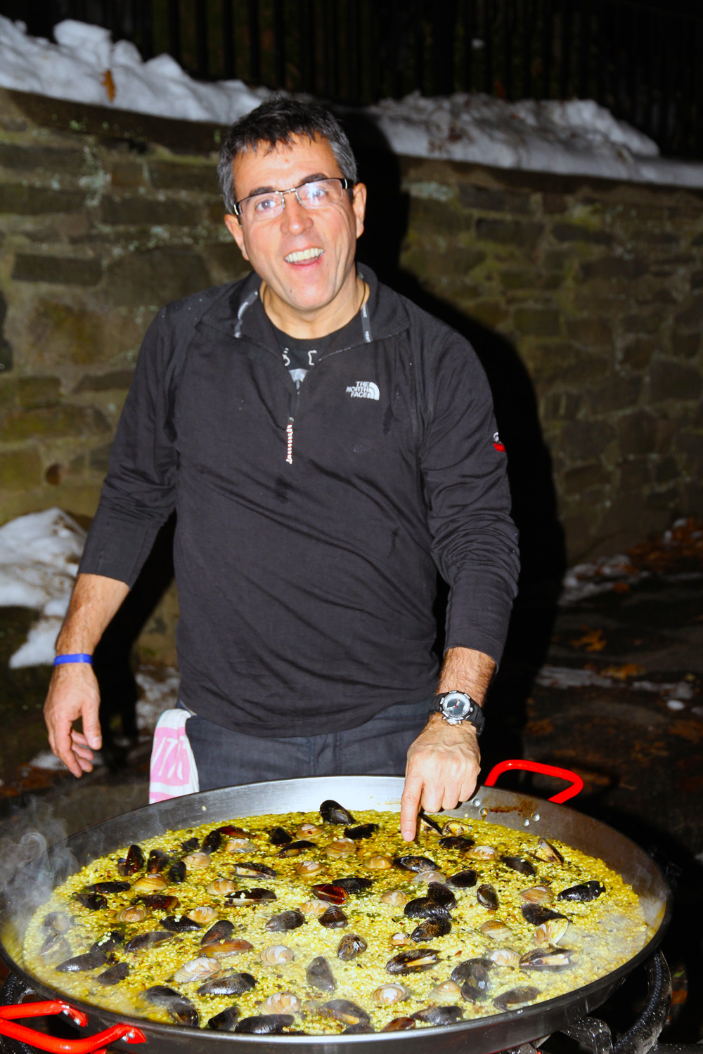 Yes, JuanCarlos was out in the snow cooking a paella!