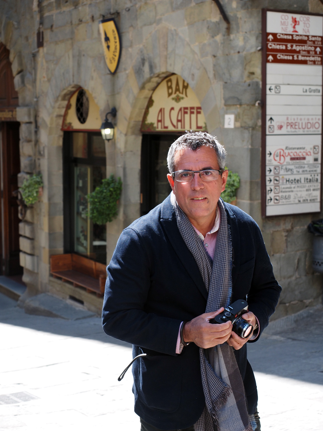 My hubby, falling in love with Cortona in the Tuscan region of Italy.
