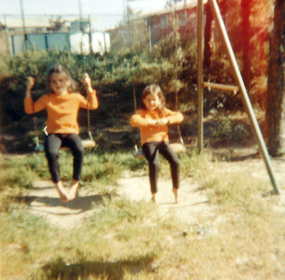 My twin sisters, Alyssa and Jill. Mom always dressed them in the same outfits. I love that being out in the 'country' turned them into barefoot, wilderness adventurers.