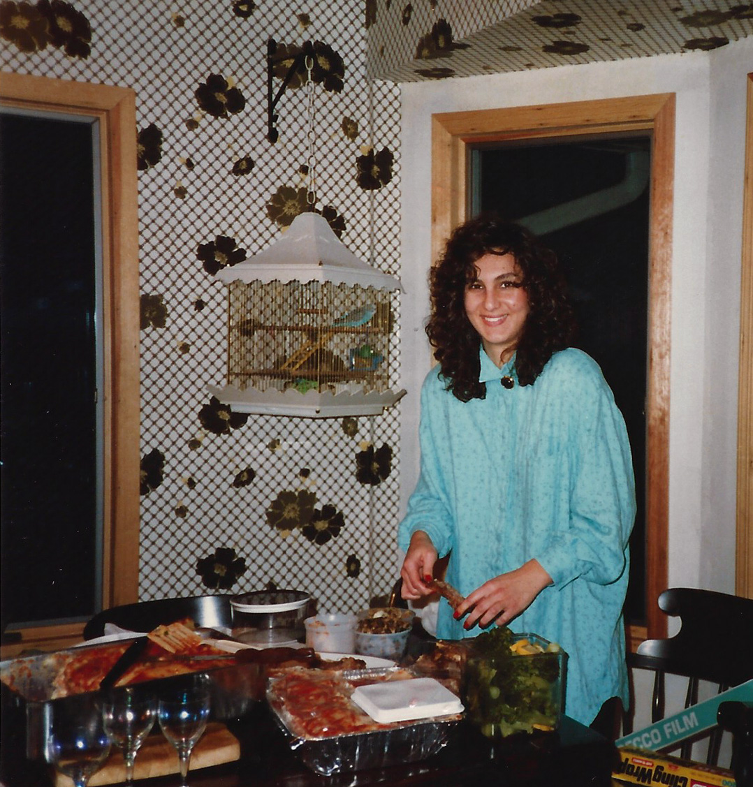 In my parent's kitchen on Long Island with sumo sized vats of food. Yes, I say from WAY back. That was my brother's bird named Qubiert.