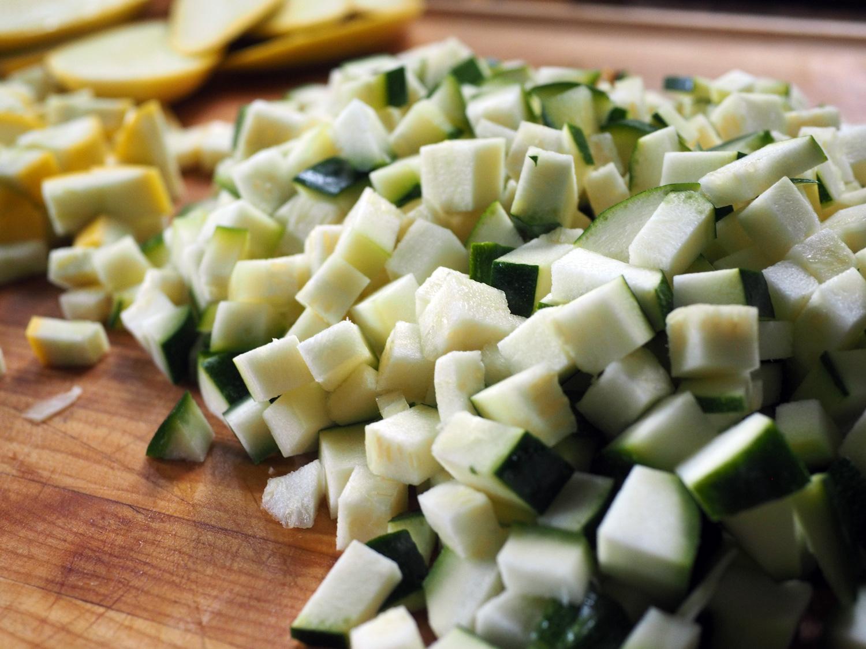 Zucchini cubed up