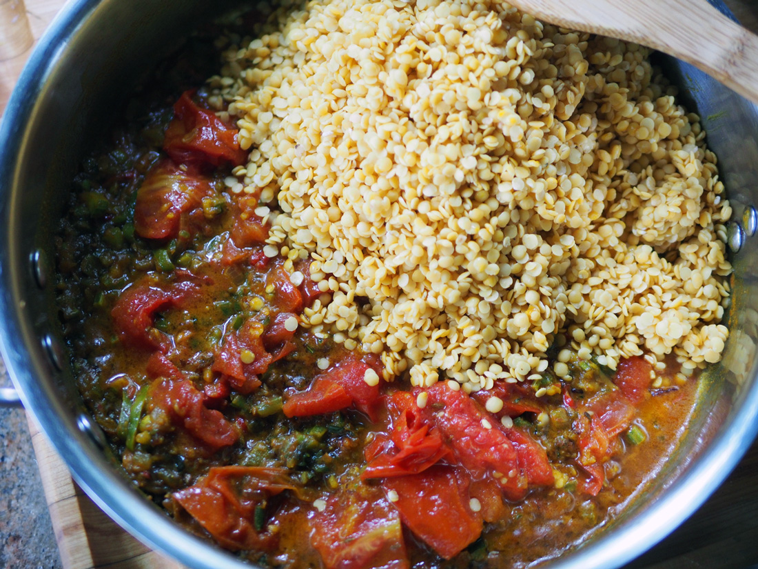 Tomatoes and lentils finish off the main ingredients, as they wait for their water bath to gently cook them.