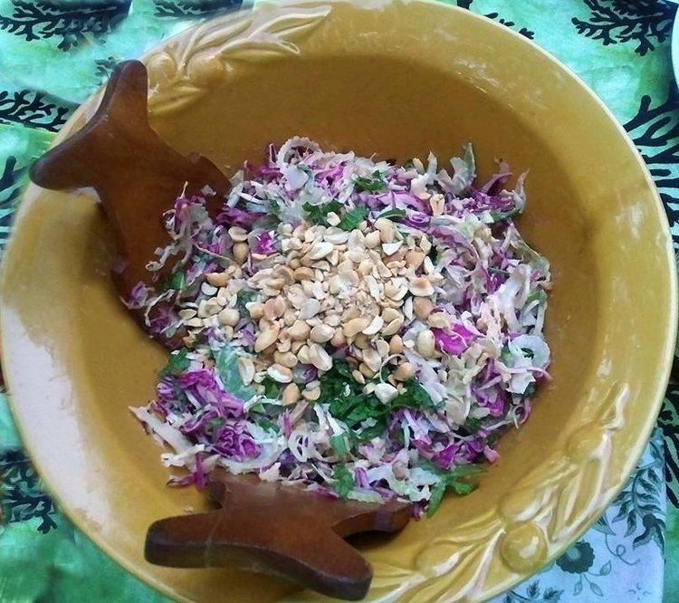 It's perfect for slaw. Top with more peanuts to add texture and crunch.
