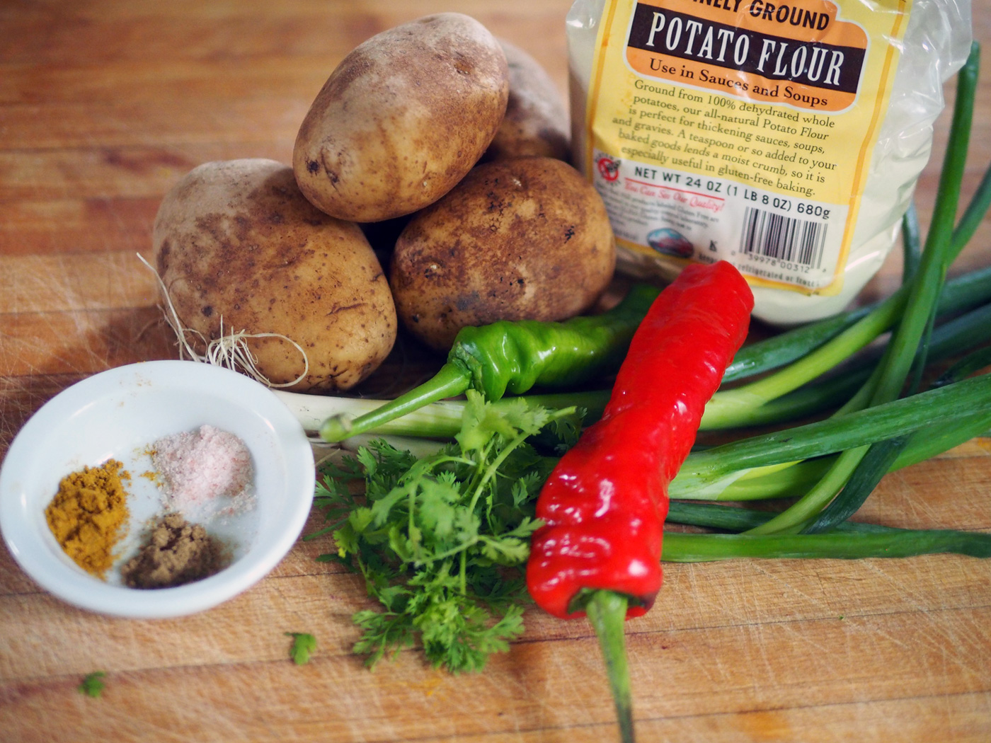 These were my ingredients: Idaho potatoes, potato flour, hot peppers, scallions, cilantro & spices