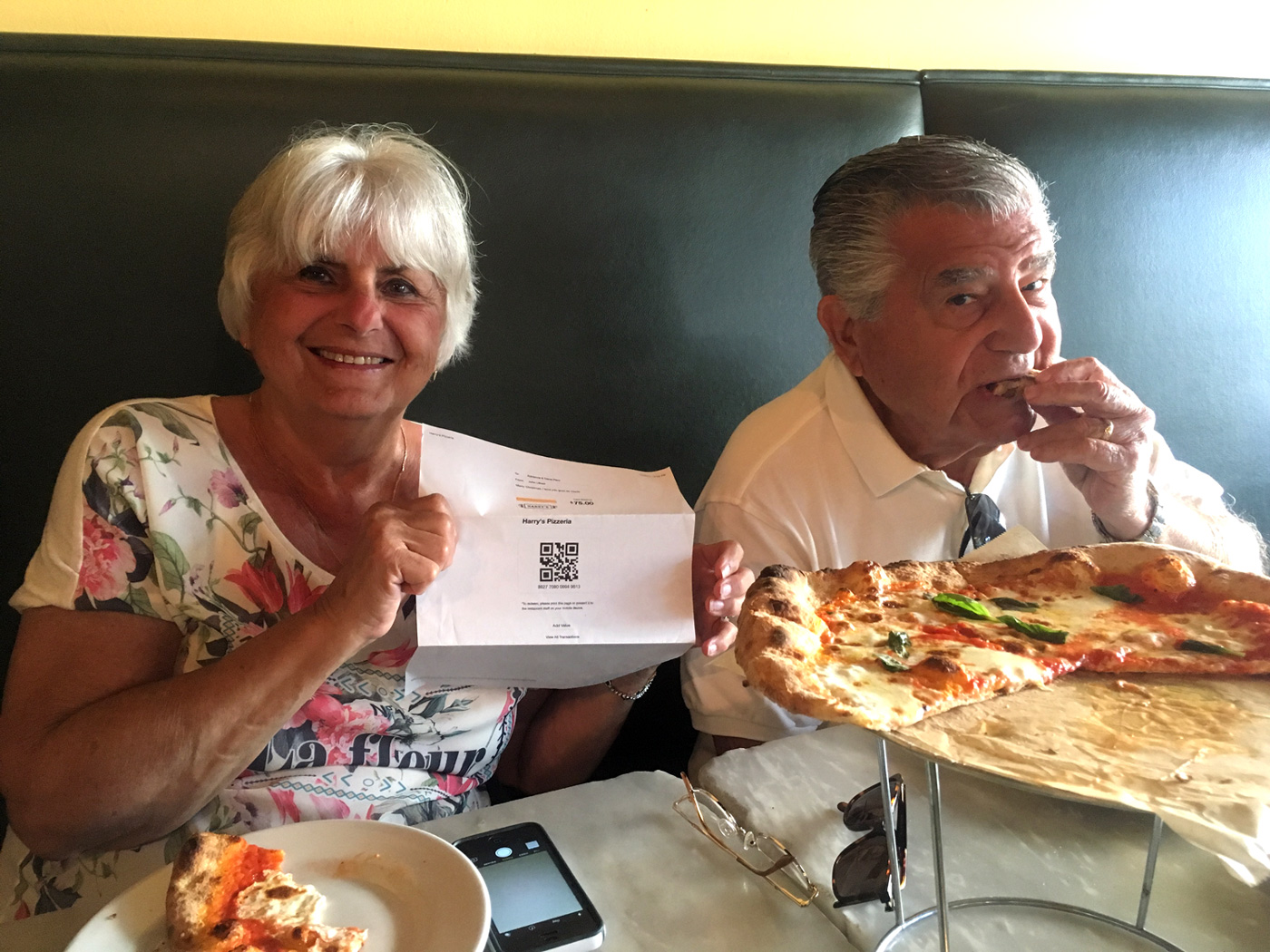 These two enjoying a gift certificate from their grandson, John, to their favorite eatery in Miami,  Harry's Pizzeria