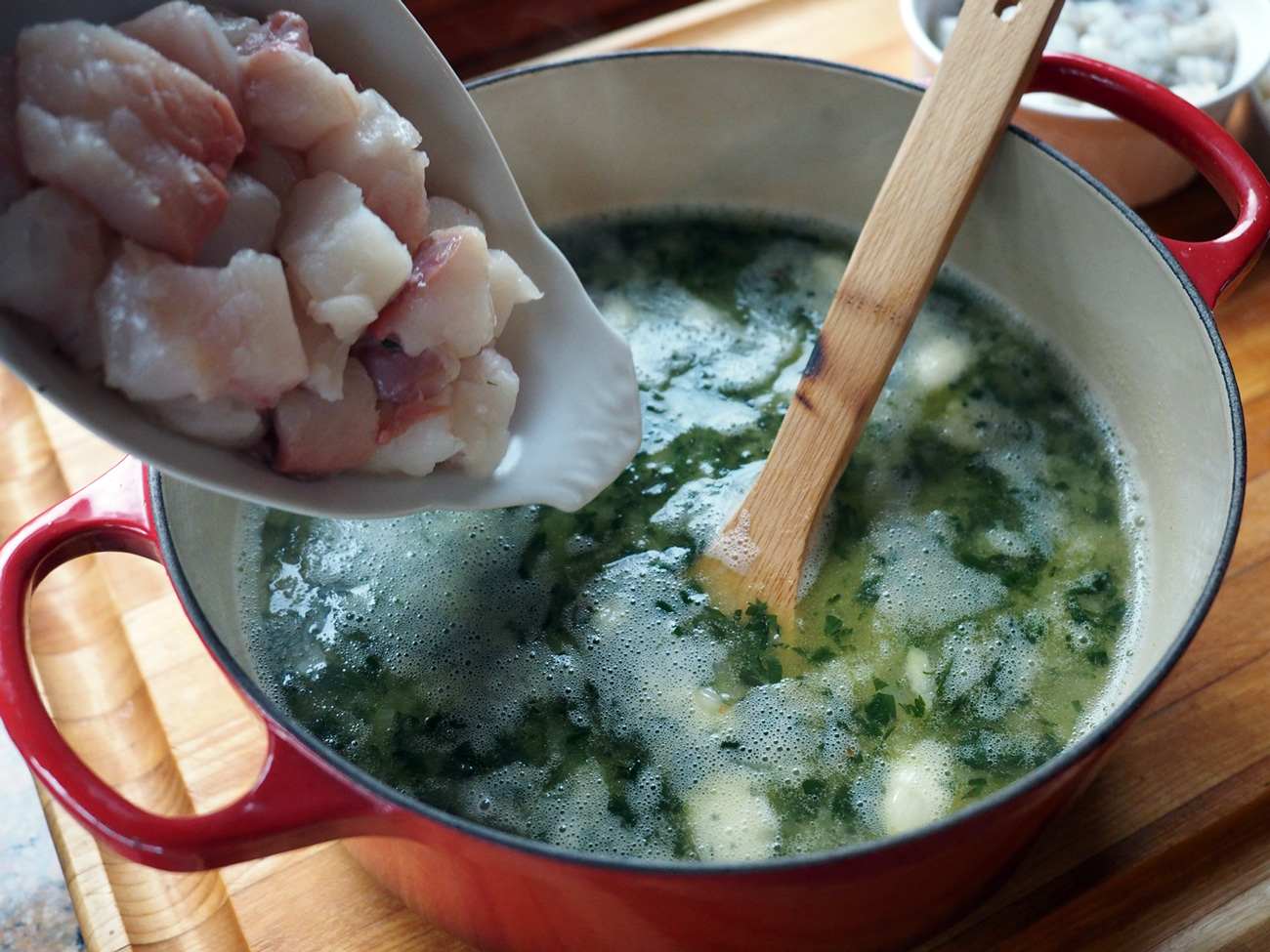 Monkfish in the pot.