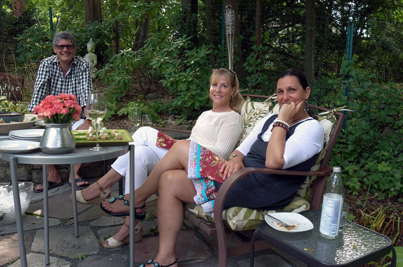 Our dear friends Bruce and MaryAnne hanging on our upper terrace for appetizers.