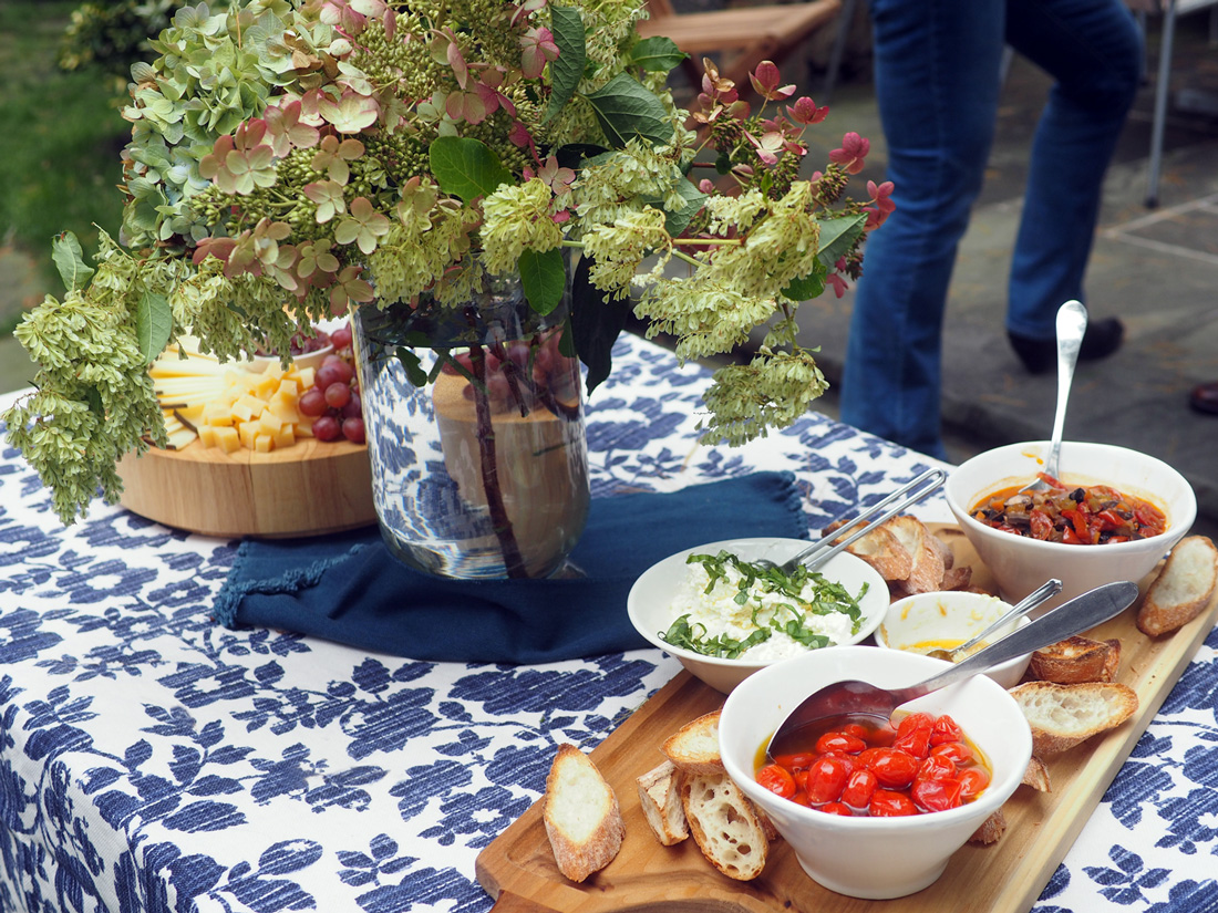 Bruschetta Bar. Fill a board with crusty bread and toppings and let your guests make their own.