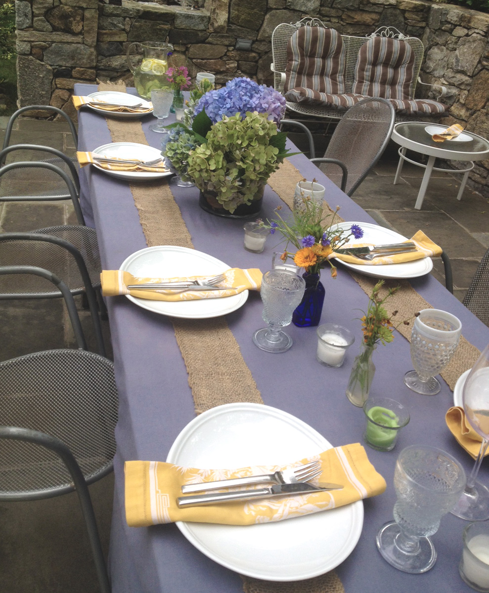 Blues and yellows   keep it bright while the burlap keeps organic.