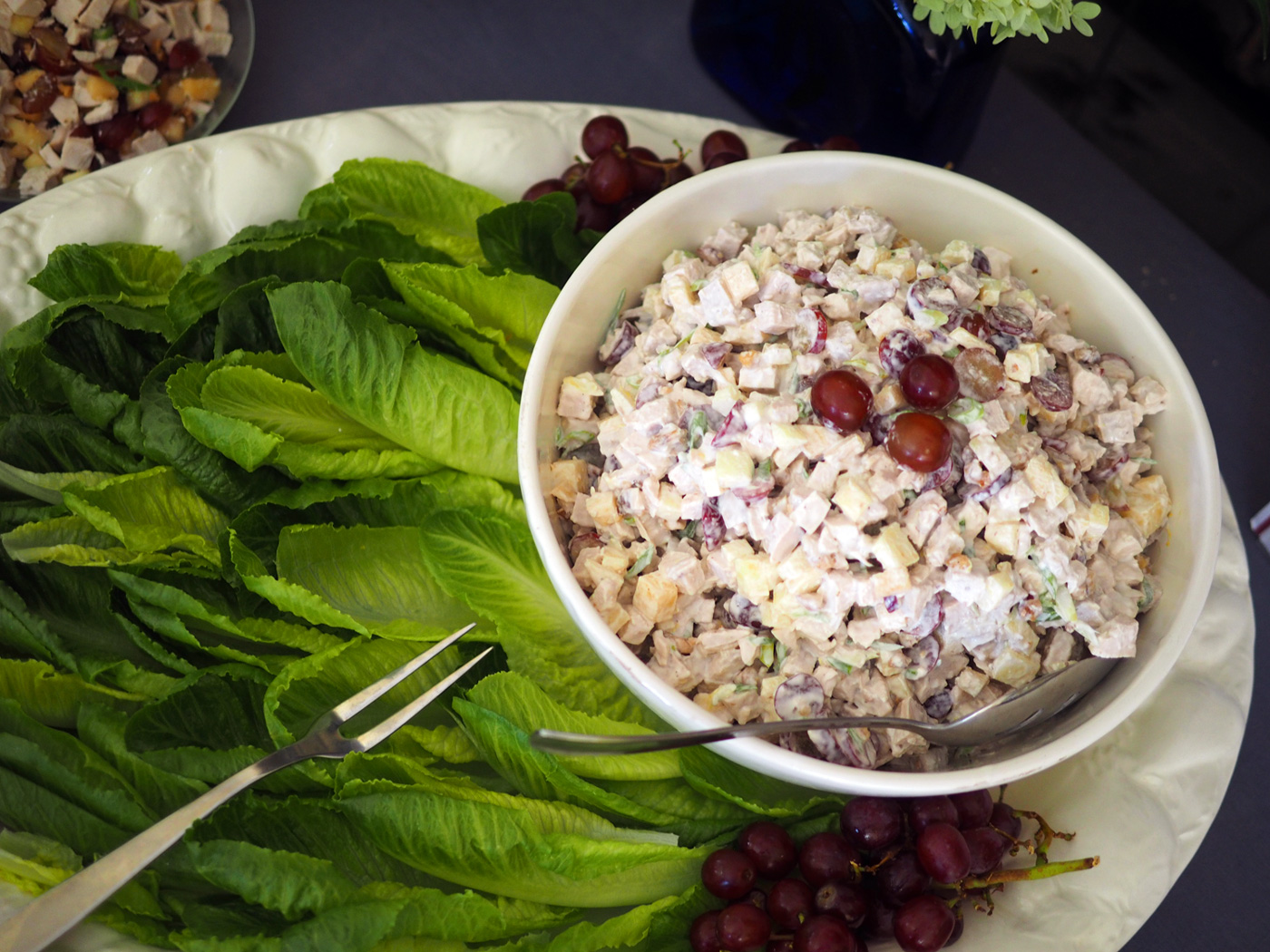 Chicken Salad with Fruit & Nuts     is a perfect summer dish. Great with lettuce leaves or on rolls, or just plain by itself.