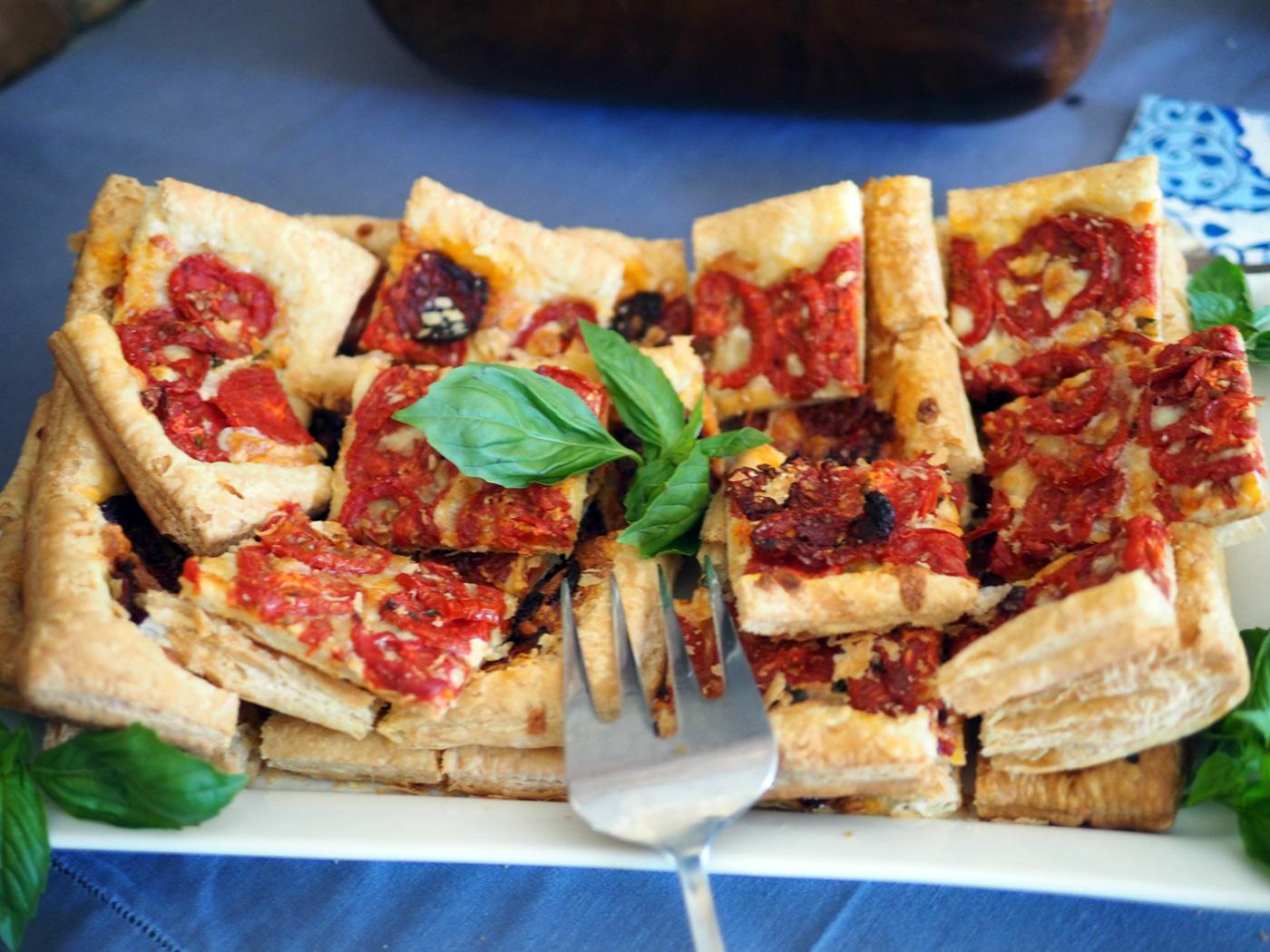 Tomato Mozzarella Puff Pastry Tartlets