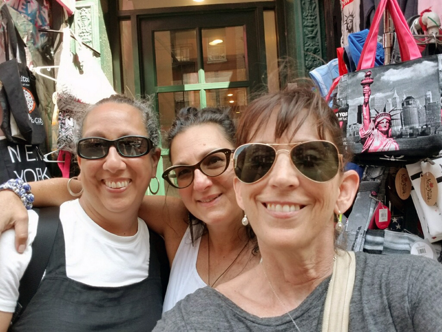 Friends for life: Dominique, Me and Dianne. AKA 3D. Smiles of well fed women looking for bargains.                       Photo credit: Dianne Guarino