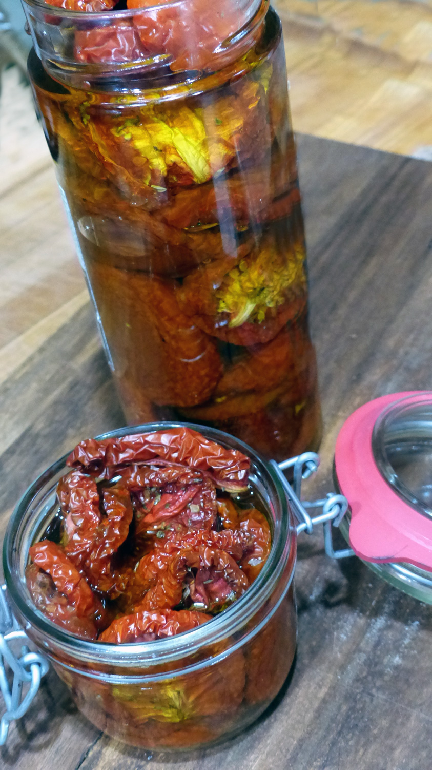 Oven dried tomatoes   can made a placed in a jar in your fridge, then used for various recipes.