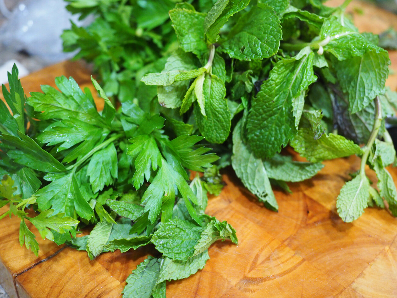 Fresh mint and parsley