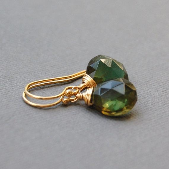 Green Quartz in Gold Filled Earrings from Heidy Henke Designs