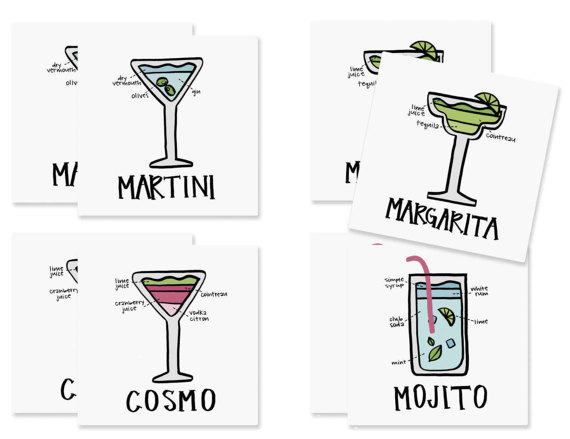 Set of Cocktail Paper Coasters from  Fresh Out Of Ink