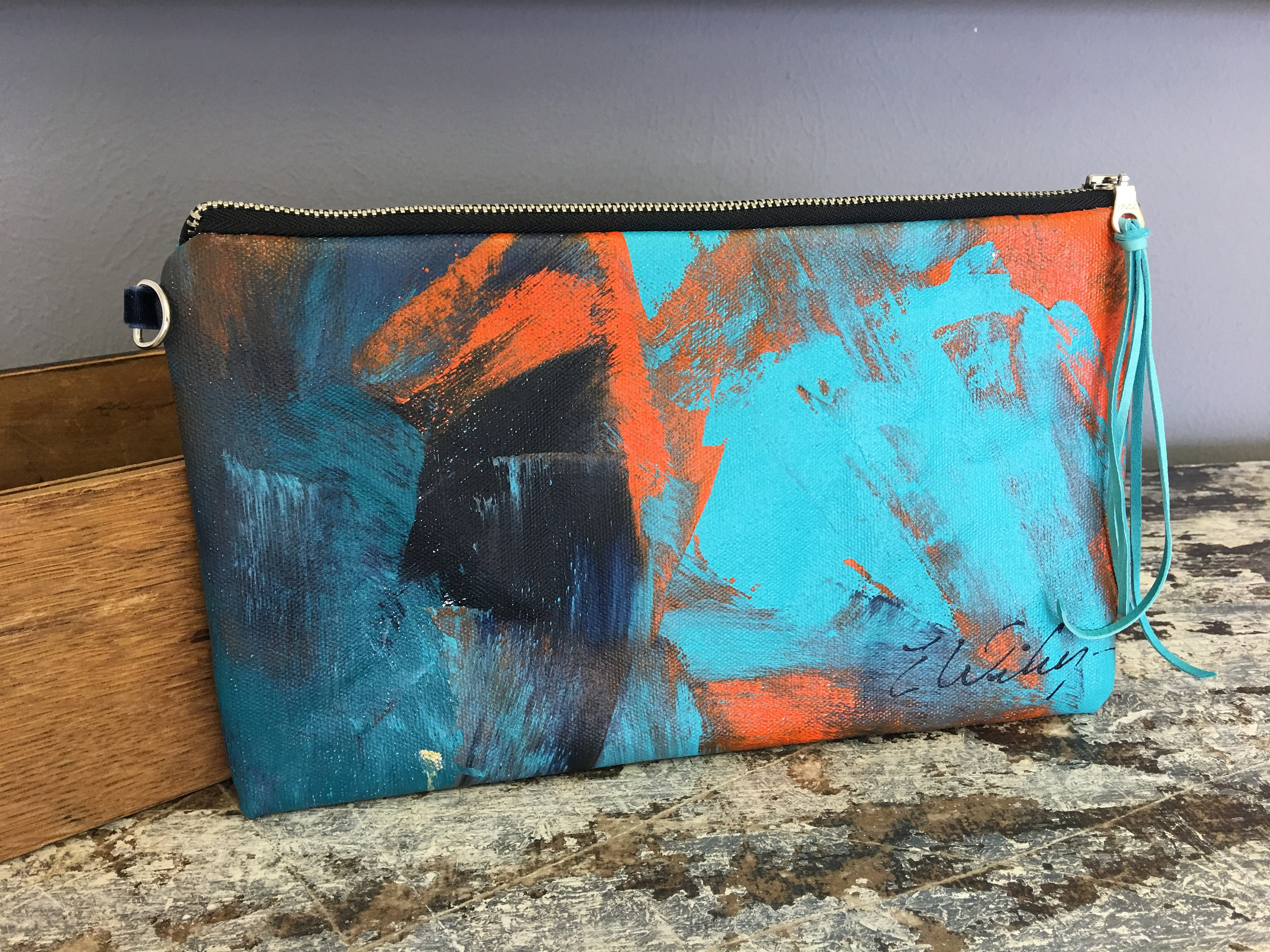 Hand painted Canvas Clutch - Liz Wiley