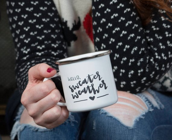 However you start the school year, just remember, it means sweater weather is around the corner.  Right??  Get ready for fall with this mug from  Fresh Out of Ink .