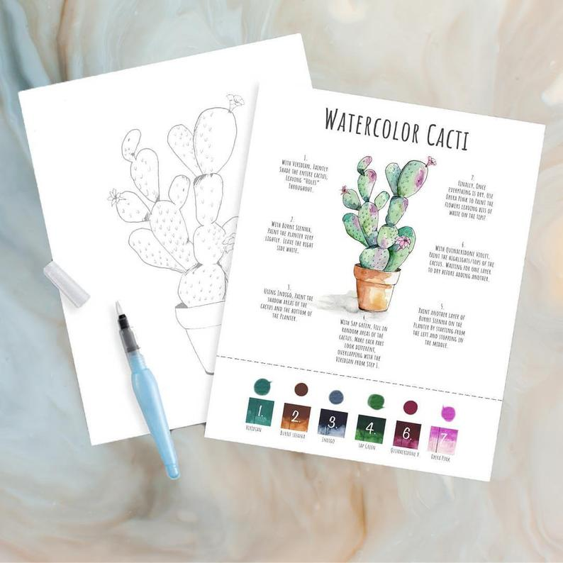 When it's time for a little R&R, relax with a DIY kit for watercolor cacti by  Maya X Kiwi .