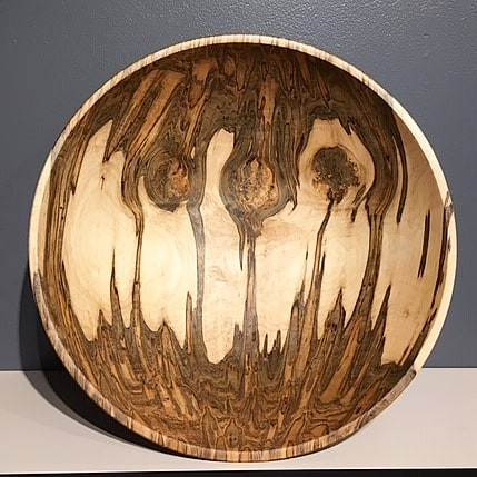 "Really like the burl figure and the ambrosia streaking in this red maple bowl.  15"" wide by 5"" high.  #redmaple #burl #woodbowl #wooddesign #studiowork #woodenbowl #turnedwood #woodworking #woodcraft #woodturning #wncart #ncart #arielgallery #northcarolina #asheville"