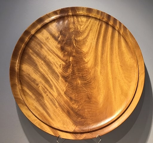 "Tatajuba platter. A South America wood with great figure and color.  23"" wide by 1 1/2"" high  See more at stevenoggle.com  #turnedwood #woodturning #woodworking #tatajuba #woodplatter #platter #woodwork #wooddesign #wooddecor #arielgallery #asheville #northcarolina #nc #ncart #interiordesign #wnc #wncart #artsandcrafts #woodcraft"