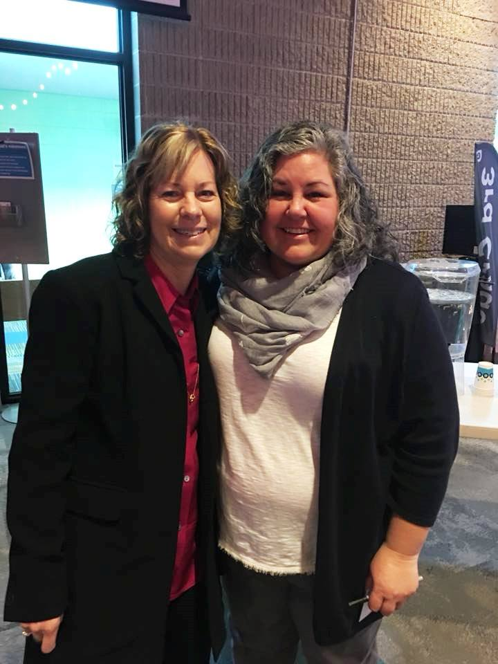 Executive Director, Linda Wiza, with Holly Seaquist Young. Thanks for sharing your story with our women, Holly!