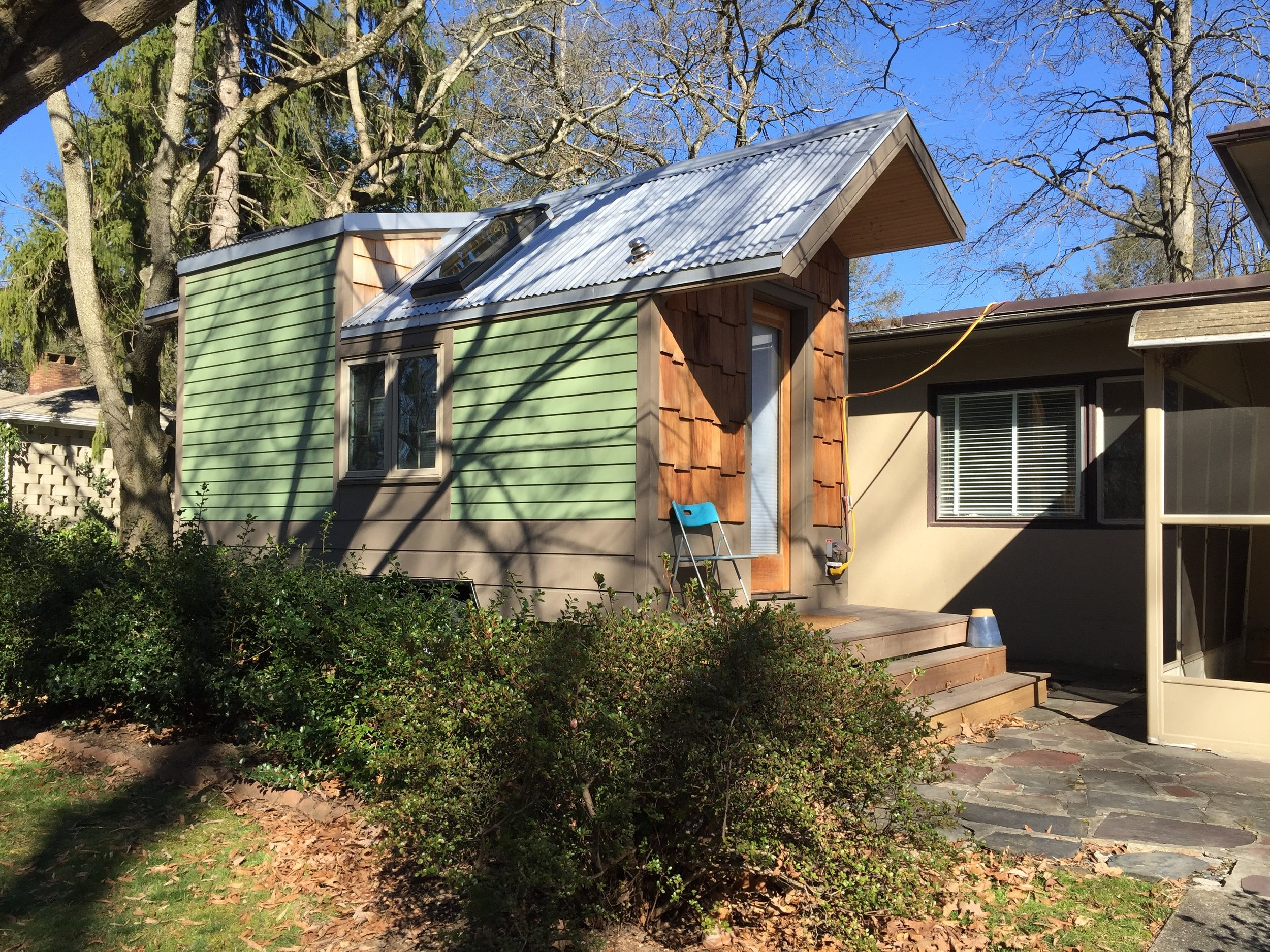 Our first tiny house currently resides in Swarthmore and is occupied by a sustainability fellow at Swarthmore College.