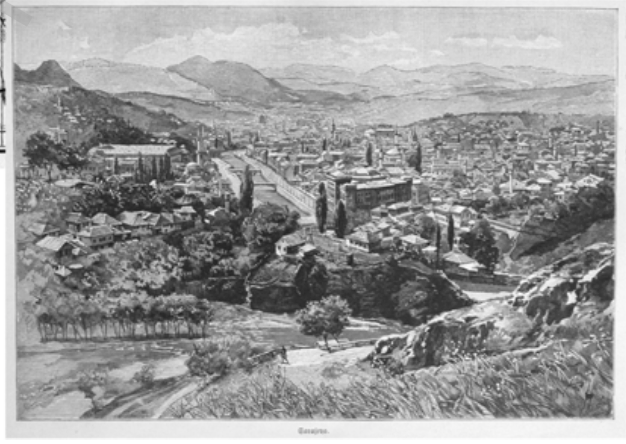 City View of Sarajevo (1900). Julius von Hary. Lithograph.