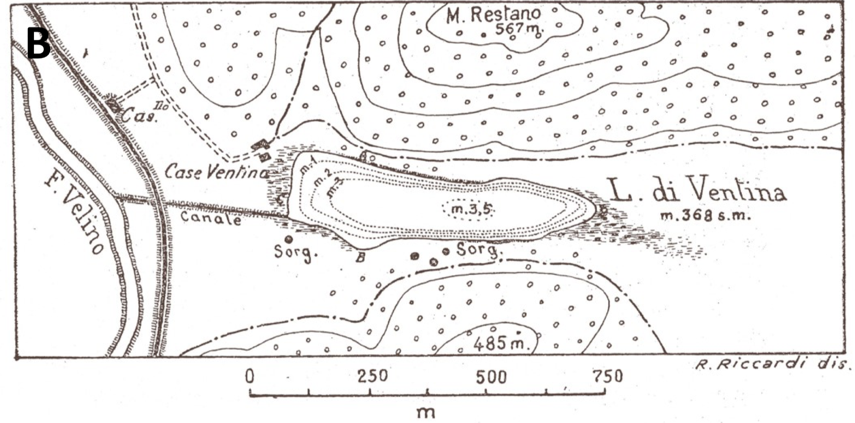 Early 20th Century Map of Lake Ventina