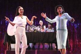 "Grace Yoo  ( Jacqueline)  and  Gedde Watanabe  ( Albin)  sing ""The Best of Times"" in Jerry Herman and Harvey Fierstein's Tony-winning 1984 musical  LA CAGE AUX FOLLES."