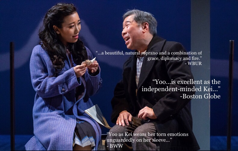 Grace Yoo as 'Kei Kimura' and Gary Ng as 'Ojii-chan' in ALLEGIANCE at SpeakEasy Stage (Boston).