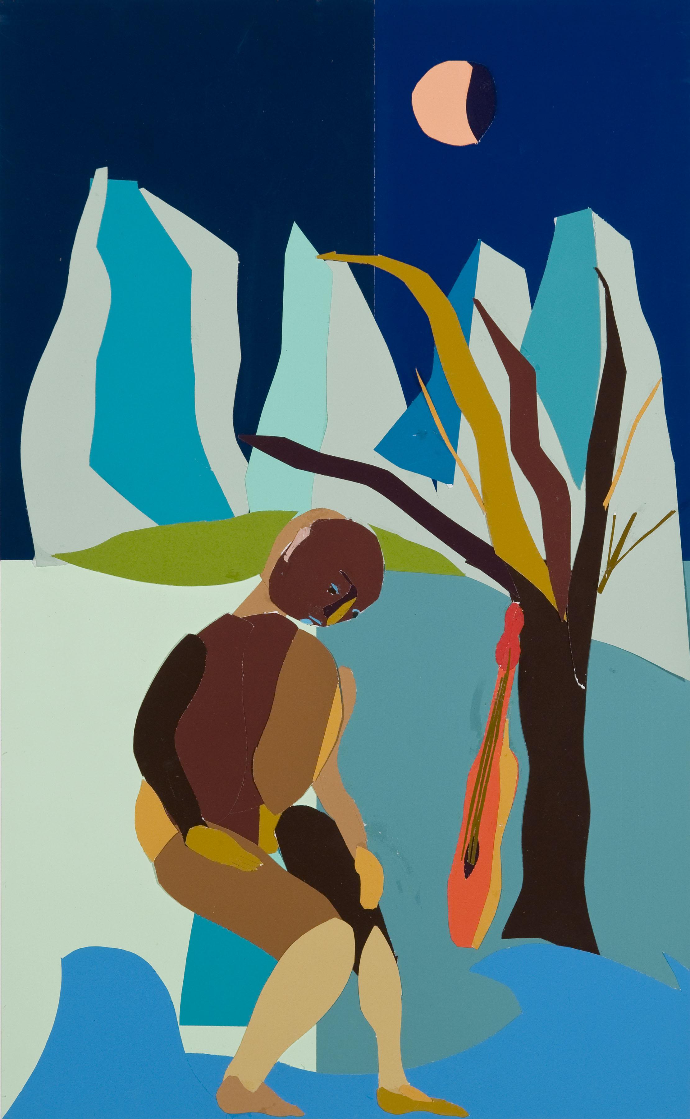 "Figure in Landscape , 18""X11"", Collage, 2013"