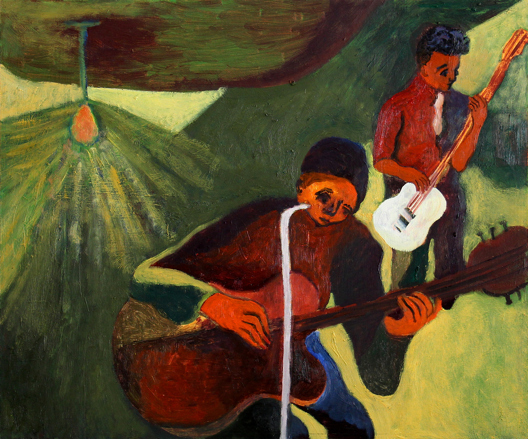 """Two Musicians , 20""""x16"""", Oil on Wood, 2015"""