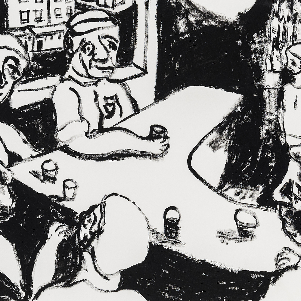 At the bar with friends, 2016, Acrylic on paper, 21x23 inches.jpg