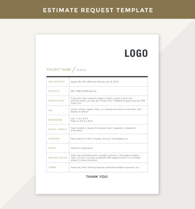 Printer Estimate Request Template