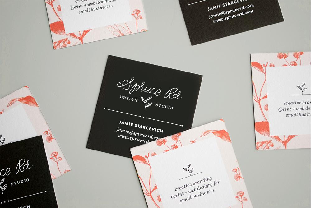Spruce Rd. Business Card Design #businesscard #squarebusinesscard #square #freelance #lettering #graphicdesign #design