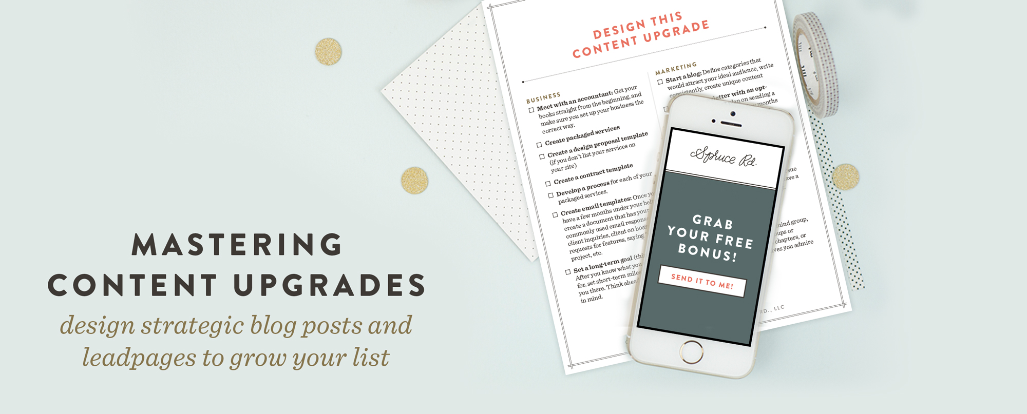 Mastering Content Upgrades // Are you ready to start growing your email list, but are hung up on the process? I have grown my list from 150 to 1,072 in about 60 days, primarily through content upgrades. I am sharing my secrets on how to grow your list (including freebies, LeadPages, Mailchimp, etc), as well as a FREE download of my top 10 favorite content upgrade ideas!
