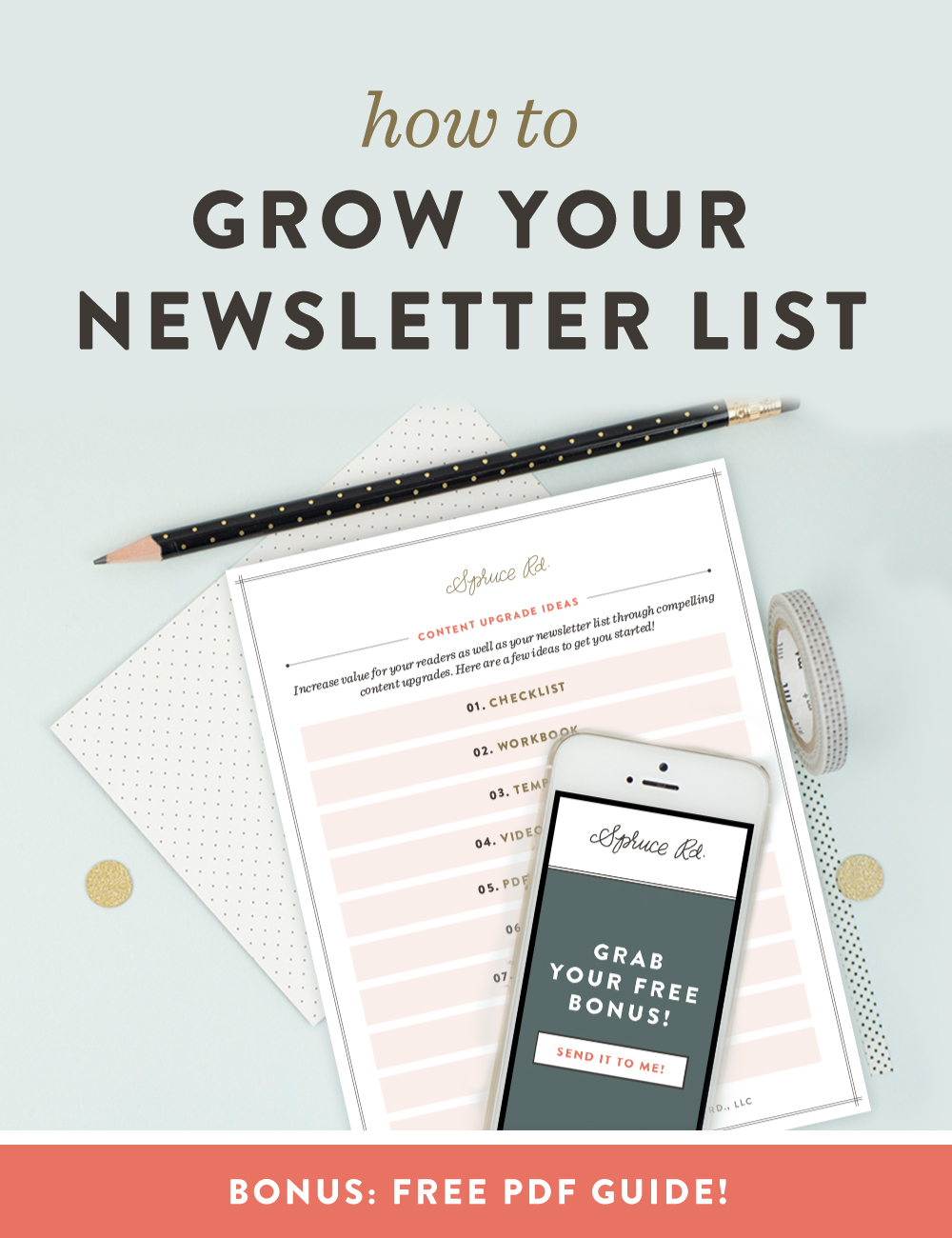 How to Grow Your Newsletter List // Are you ready to start growing your email list, but are hung up on the process? I have grown my list from 150 to 1,072 in about 60 days, primarily through content upgrades. I am sharing my secrets on how to grow your list (including freebies, LeadPages, Mailchimp, etc), as well as a FREE download of my top 10 favorite content upgrade ideas!