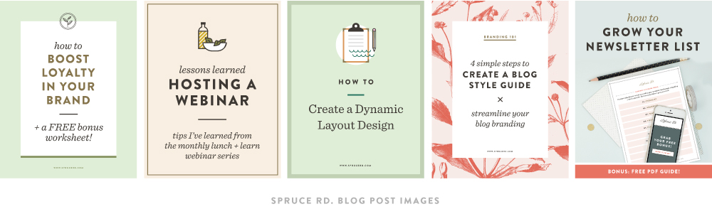 How to add value to your business through design | Spruce Rd. | There are countless times, whether in business or blogging, where a design need pops up. Whether it is through a blog post image, Facebook ad, infographic, sidebar button, or new promotion, graphic design has been my trusty sidekick through it all. Design skills aren't reserved for only those who have a graphic design degree, but I truly believe that everyone is creative, and has the capability to learn the tools on their own. Here are a few ways you can add value to your business, through design.