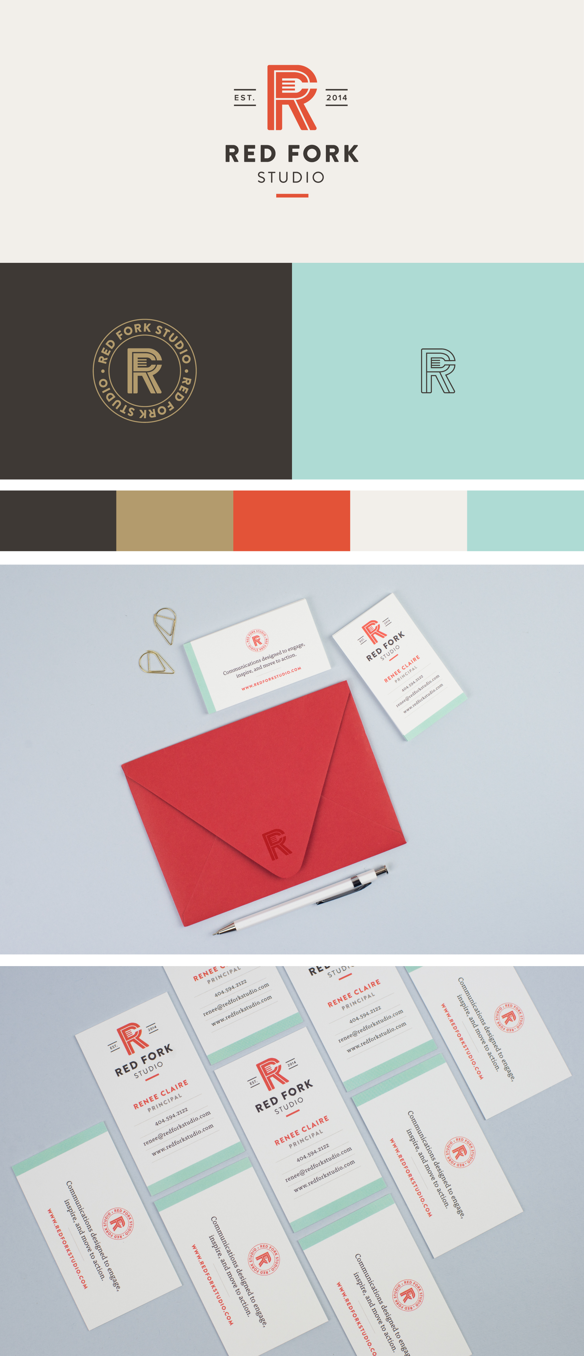 Red Fork Studio brand identity | Spruce Rd. | logo design, pattern design, online marketing, branding, monogram