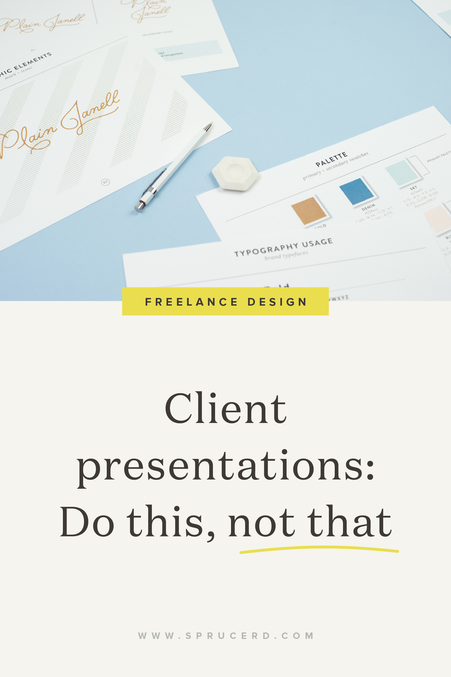"To create a winning client branding presentation, there's a few tips to follow. I've got a fun ""do this, not that"" series that shows how to get zero revisions from client proofs! Head to the blog to check out if you're doing these in your client presentation process. #freelance #designer #graphicdesign #branding"