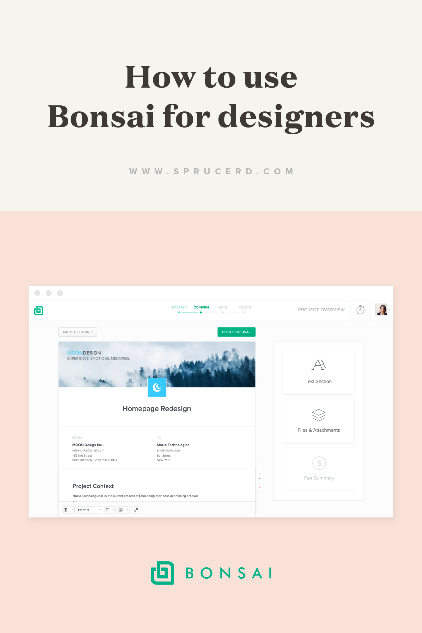 How to use Bonsai for designers | Spruce Rd. | The all in one freelancing client on-boarding software for quotes, proposals and contracts.