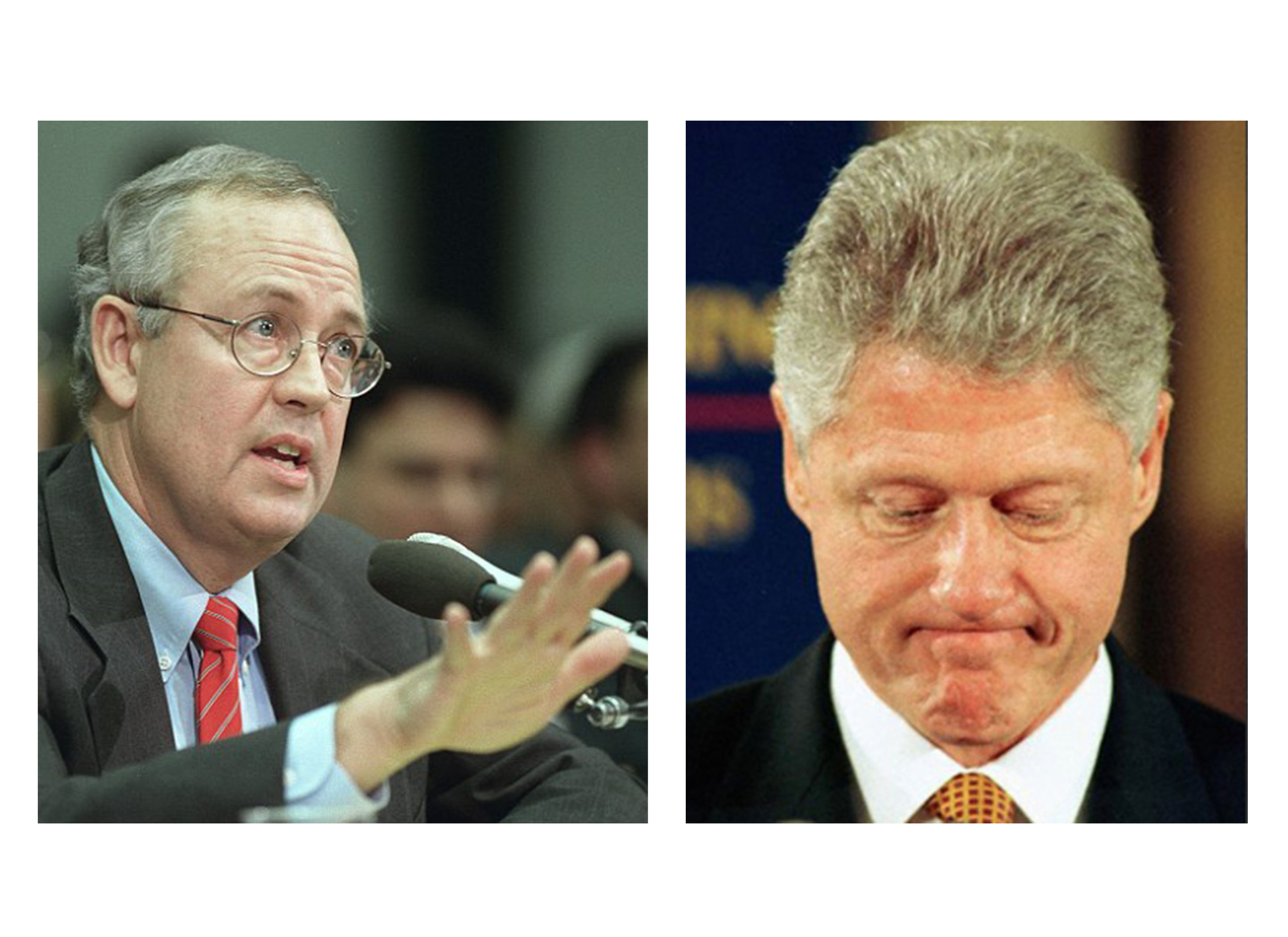 Independent Counsel Kenneth Starr (left) pursued and caught a president who committed out-of-marriage sex acts with an intern.  A philandering president…can you believe that?  Sad, but true.
