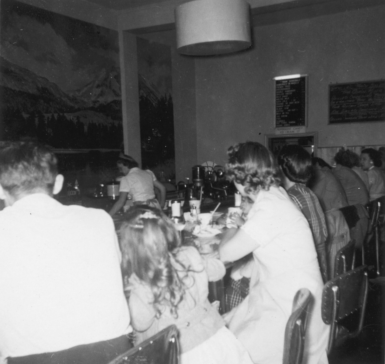 Polaroid of diners at the Miner Street location