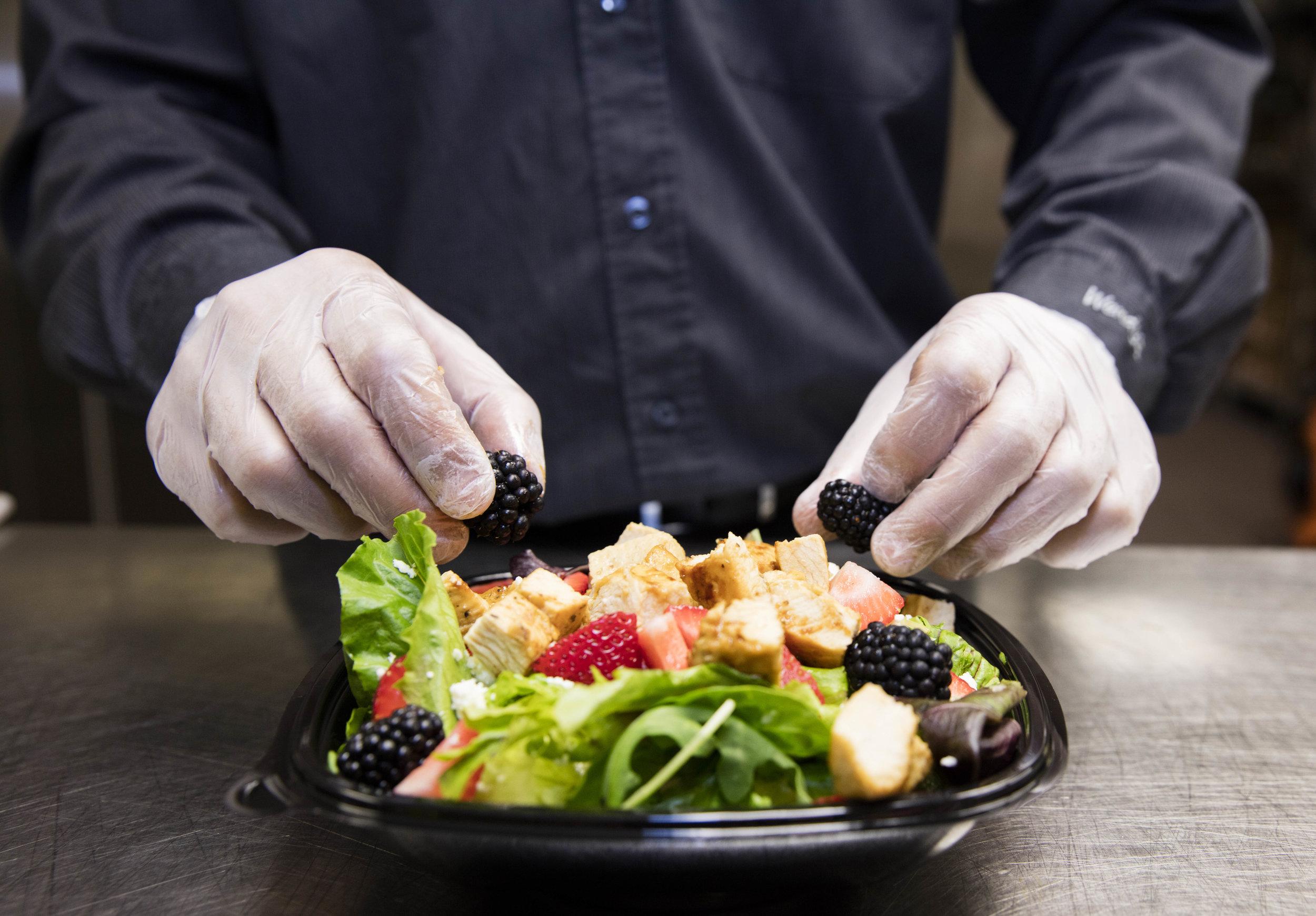 Wendy's Summer Berry Chicken Salad Features Fresh Blackberries & Strawberries.